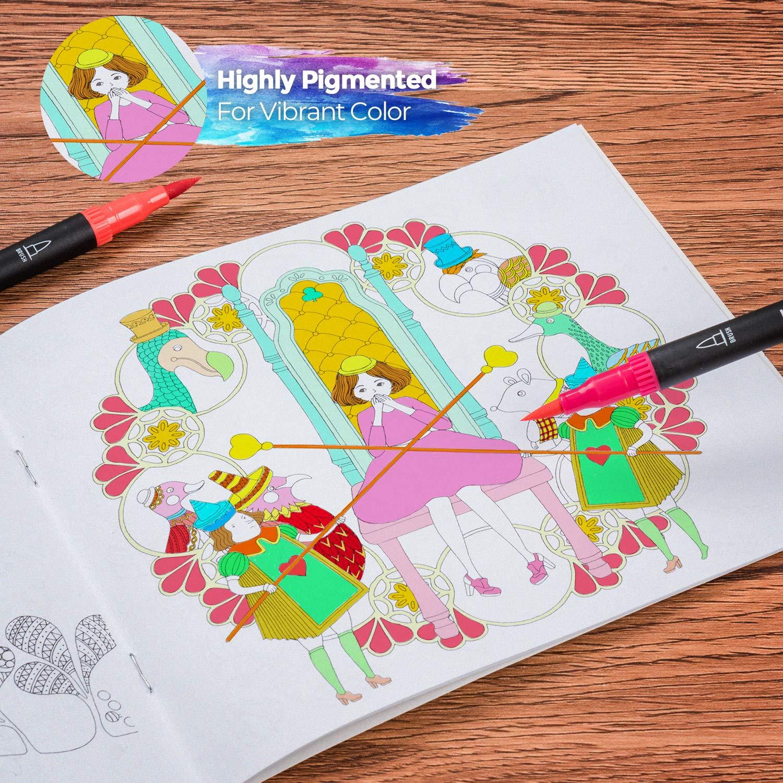 Hethrone Brush Pen Lettering 100 Colori Pennarelli punta fine Pennarelli acquerellabili Acquerellabili da Pittura per Lettering Colorare e Disegnare Bullet journal Schizzi