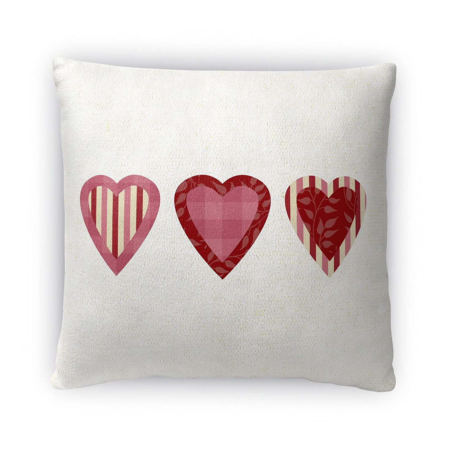 - TRADITIONS Collection TELAVC8096FBS18 KAVKA Designs 3 Hearts Fleece Throw Pillow, Pink//Red Size: 18X18X4 -