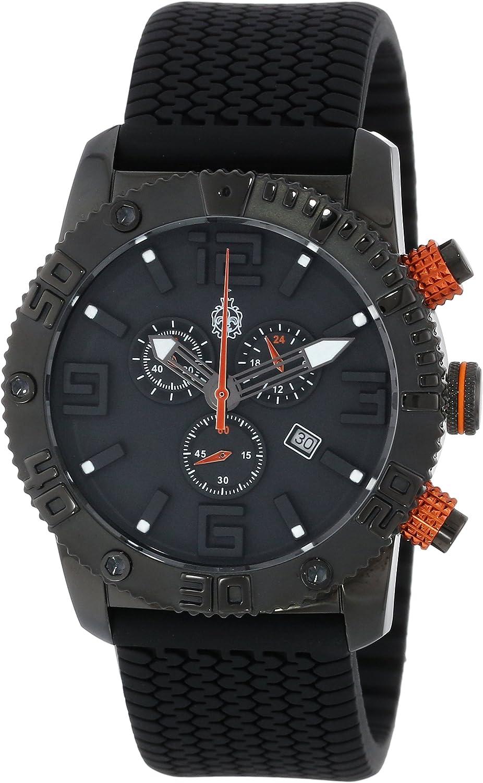 Burgmeister BM521-622B - Reloj analógico de Cuarzo para Hombre con Correa de Silicona, Color Negro
