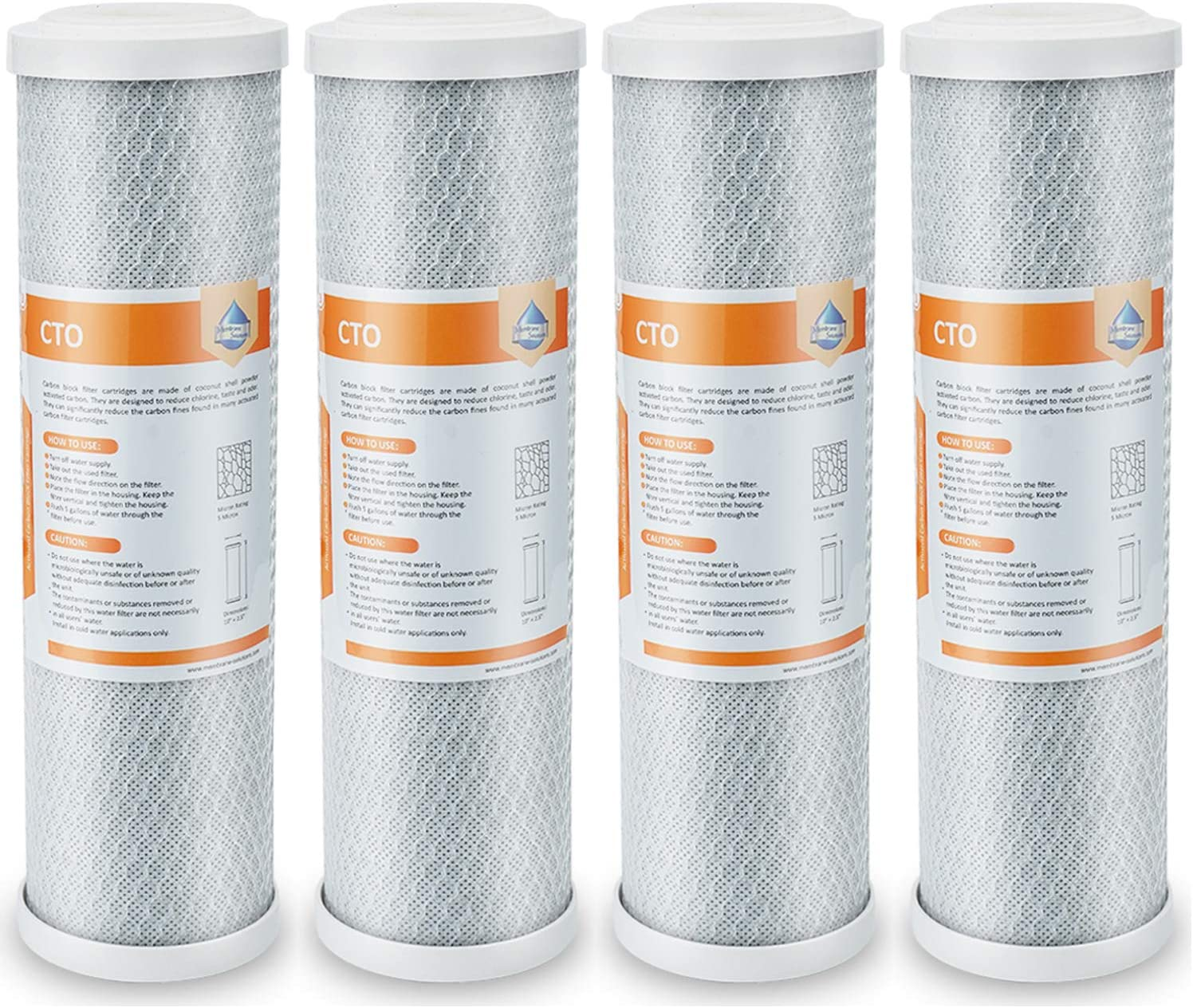 """Membrane Solutions 5 Micron Carbon Block Water Filter Replacement 10""""x2.5"""",Universal Coconut Shell CTO Sediment Filter Cartridge - Whole House Under Sink and Reverse Osmosis System - 4 Pack"""