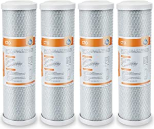 "Membrane Solutions 5 Micron Carbon Block Water Filter Replacement 10""x2.5"",Universal Coconut Shell CTO Sediment Filter Cartridge - Whole House Under Sink and Reverse Osmosis System - 4 Pack"