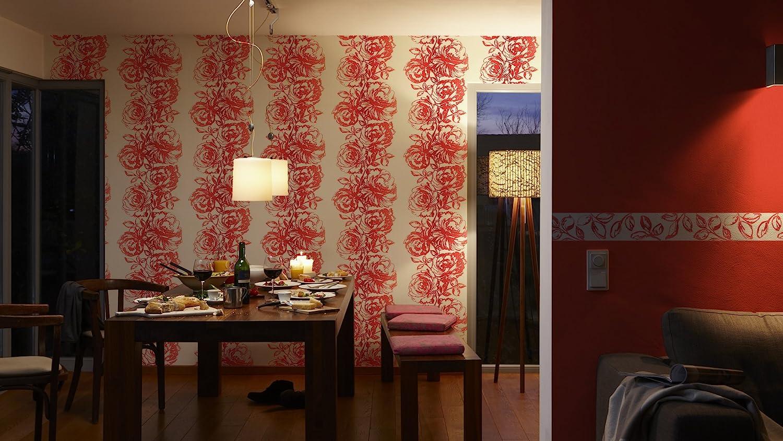 Esprit Home papel pintado de tejido-no-tejido London rojo blanco 10,05 m x 0,53 m 264565