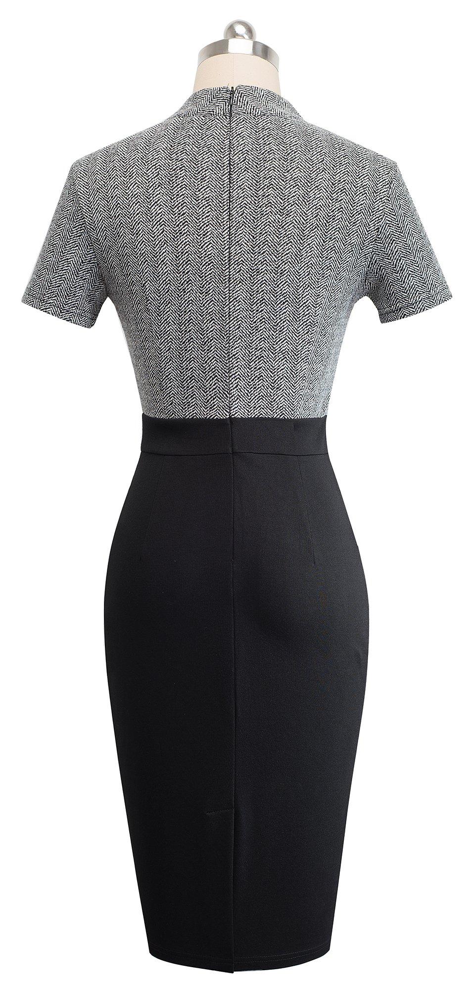 HOMEYEE Women's Short Sleeve Business Church Dress B430 (4, Gray) by HOMEYEE (Image #3)
