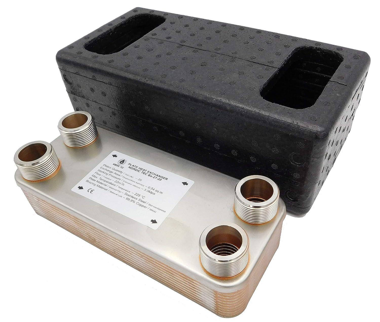 """Edelstahl W/ärmetauscher Plattenw/ärmetauscher NORDIC TEC Ba-32-20 20 platten 125kW 1/"""""""