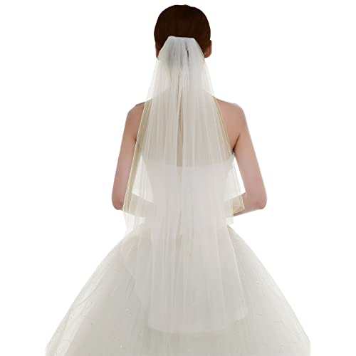 Edith qi Womens Simple Tulle Bridal Veil Short Wedding Veil with Comb