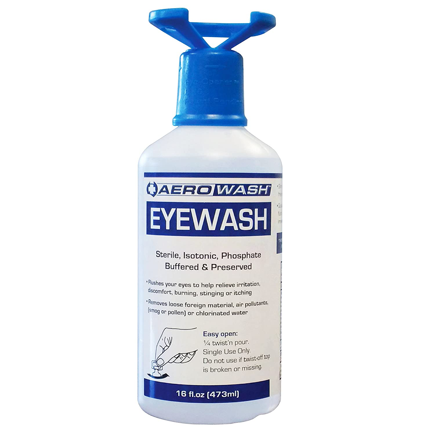Aero Eye Wash Safety Solution; Buffered pH Neutralizing, 16oz with Eye-Opener (Pack of 3) PROPRIETARY F24882-0016