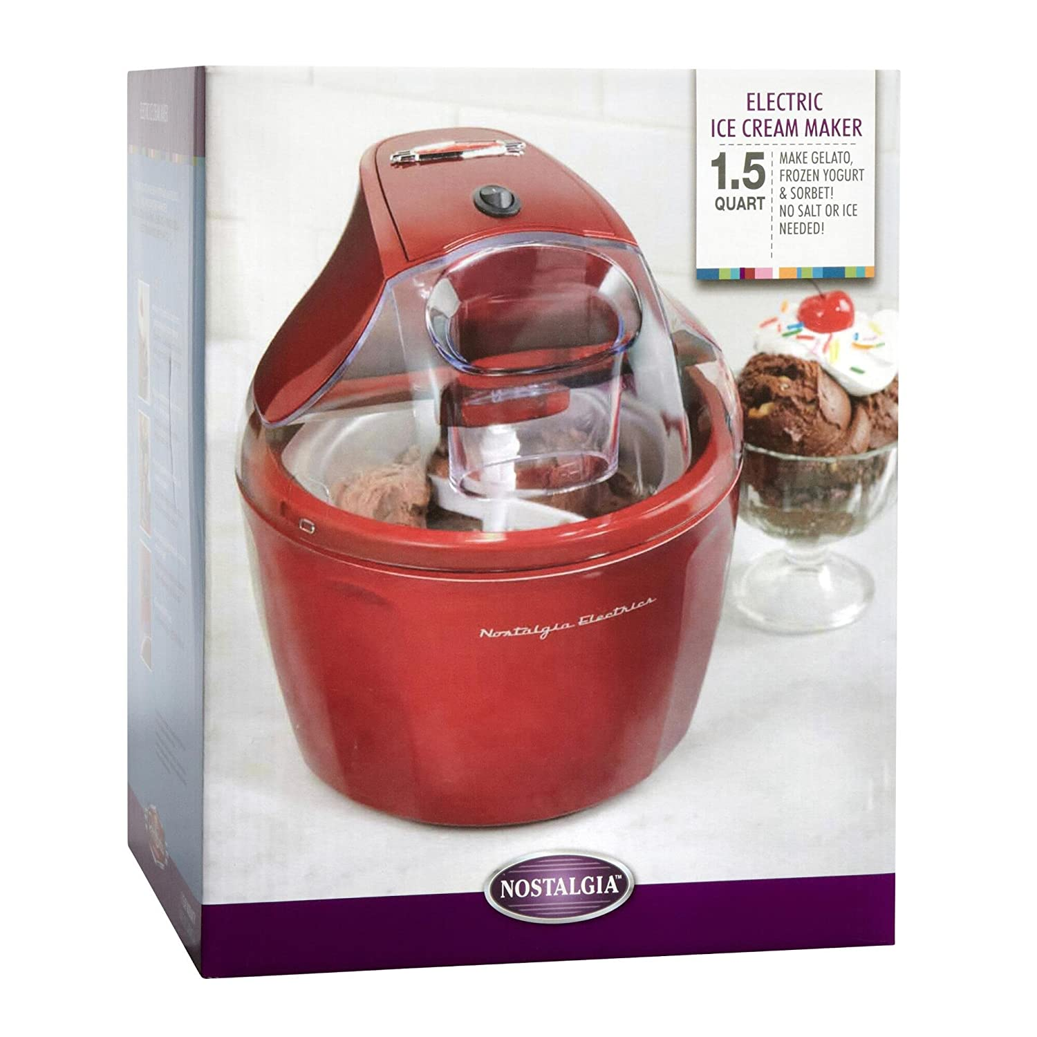 Charming Electric Ice Cream Maker Part - 2: Amazon.com: Nostalgia Ice Cream Maker | Stainless Steel 1.5 Quart Ice Cream  Makers, Red: Kitchen U0026 Dining