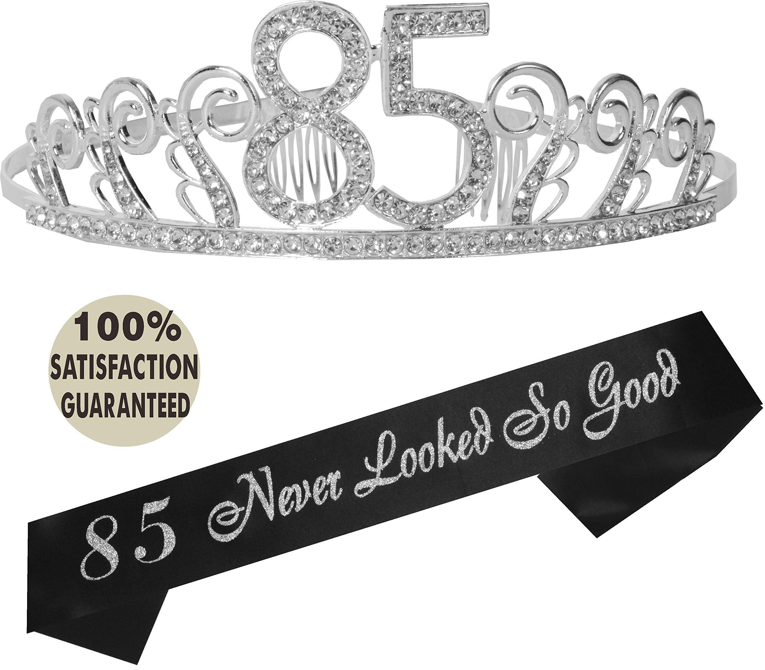 85th Birthday Tiara And Sash HAPPY Party Supplies Black Glitter Satin