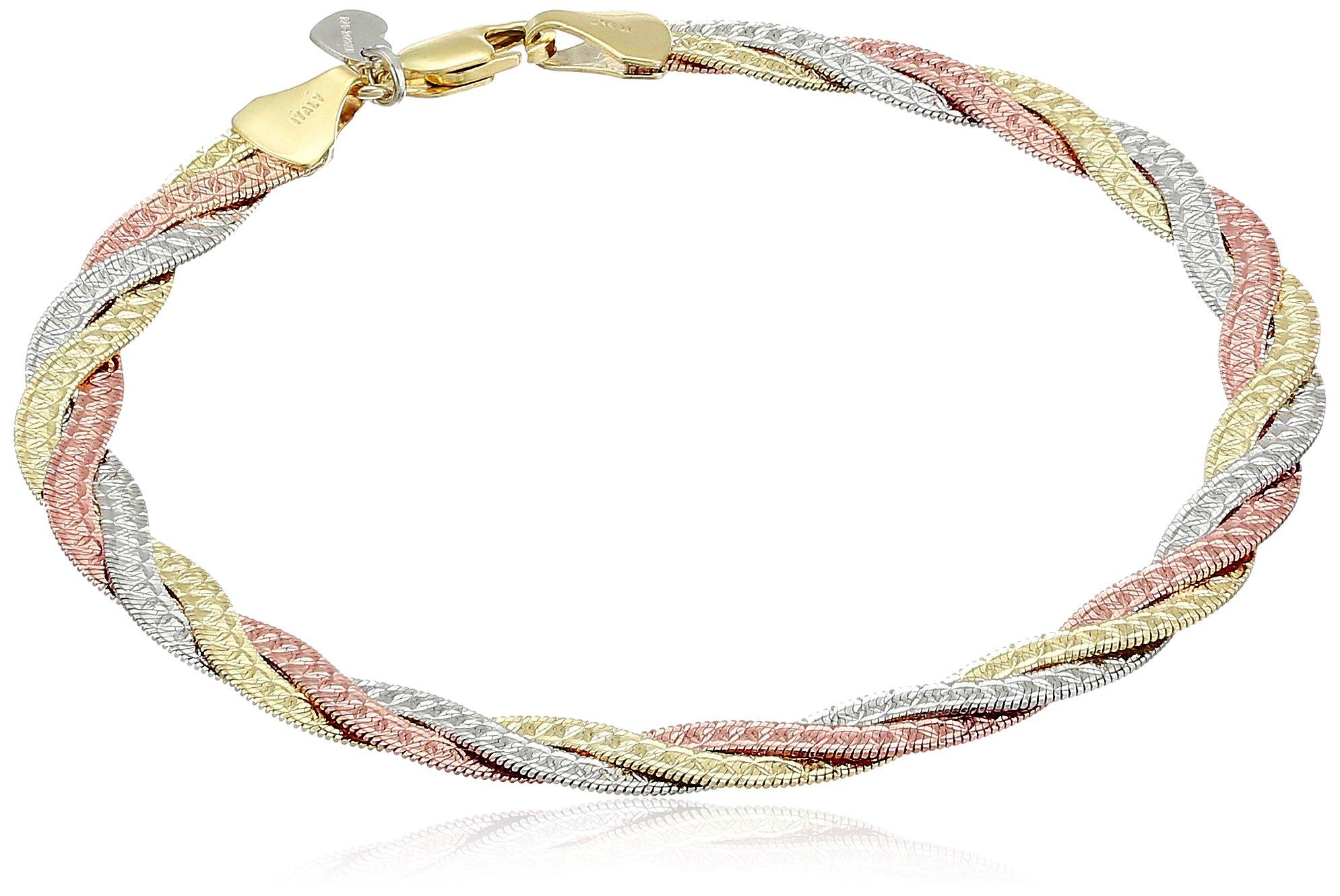14k Gold Bonded Sterling Silver Tri Colored Braided Bracelet, 7.5''
