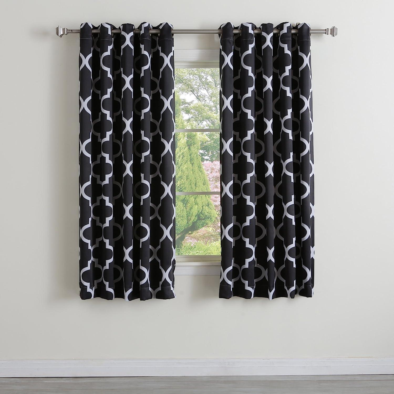 "Best Home Fashion Room Darkening Morrocan Print Curtains - Antique Bronze Grommet Top - Black- 52"" W X 63"" L - (1 Panel)"