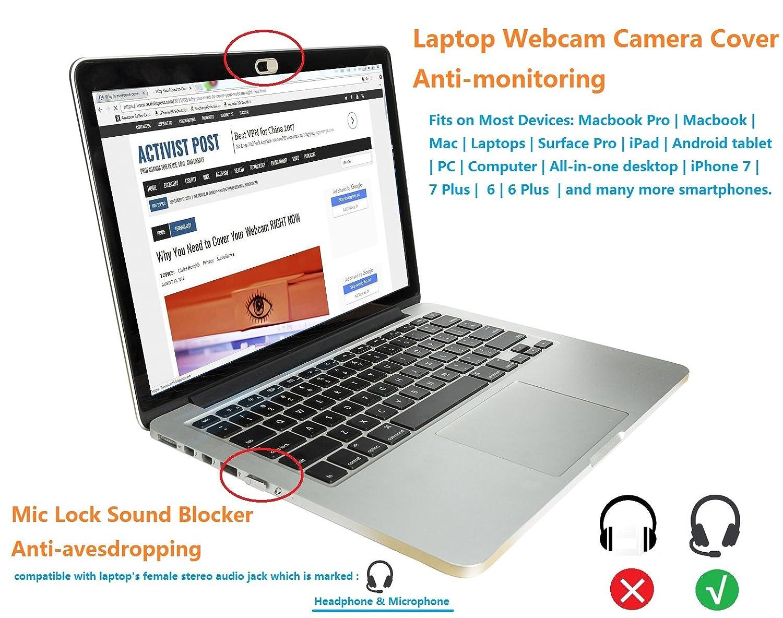 Mic Lock Sound Blocker Anti-escuchas   Protección de la cubierta de la cámara web de la computadora portátil del ordenador portátil para la tableta del ...