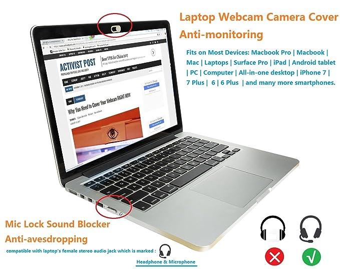 Mic Lock Sound Blocker Anti-escuchas | Protección de la cubierta de la cámara web de la computadora portátil del ordenador portátil para la tableta del ...