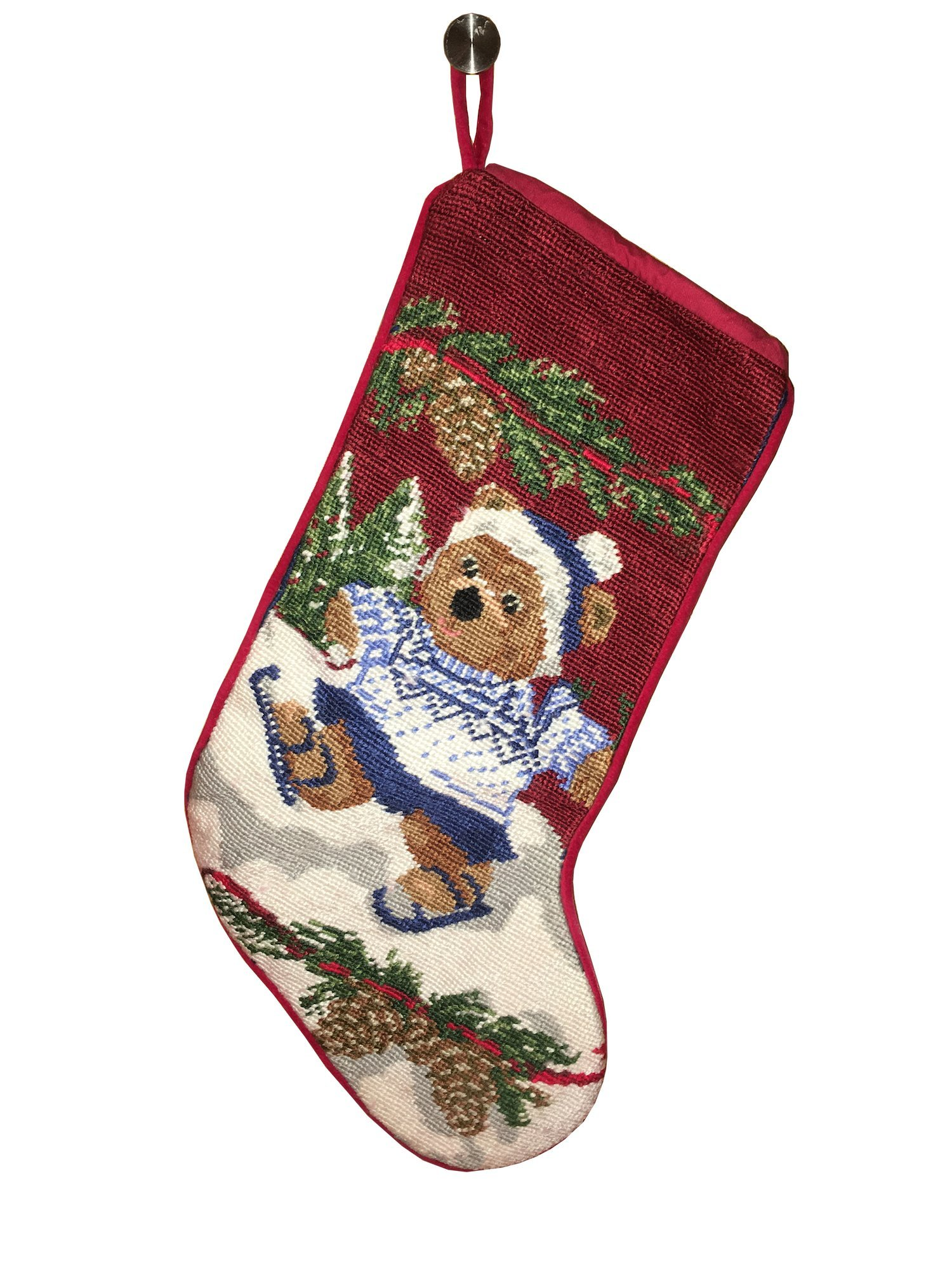 Christmas stockings with bear skating can be personalized separately, large christmas stocking holders for gift fillers and stuffers, great xmas stocking for kids and pets