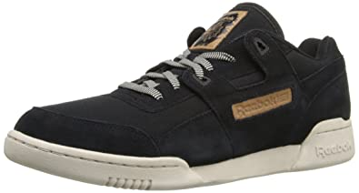 Reebok Men's Workout Plus Utility Classic Shoe, Black/Blue Sport/Stucco,  12.5
