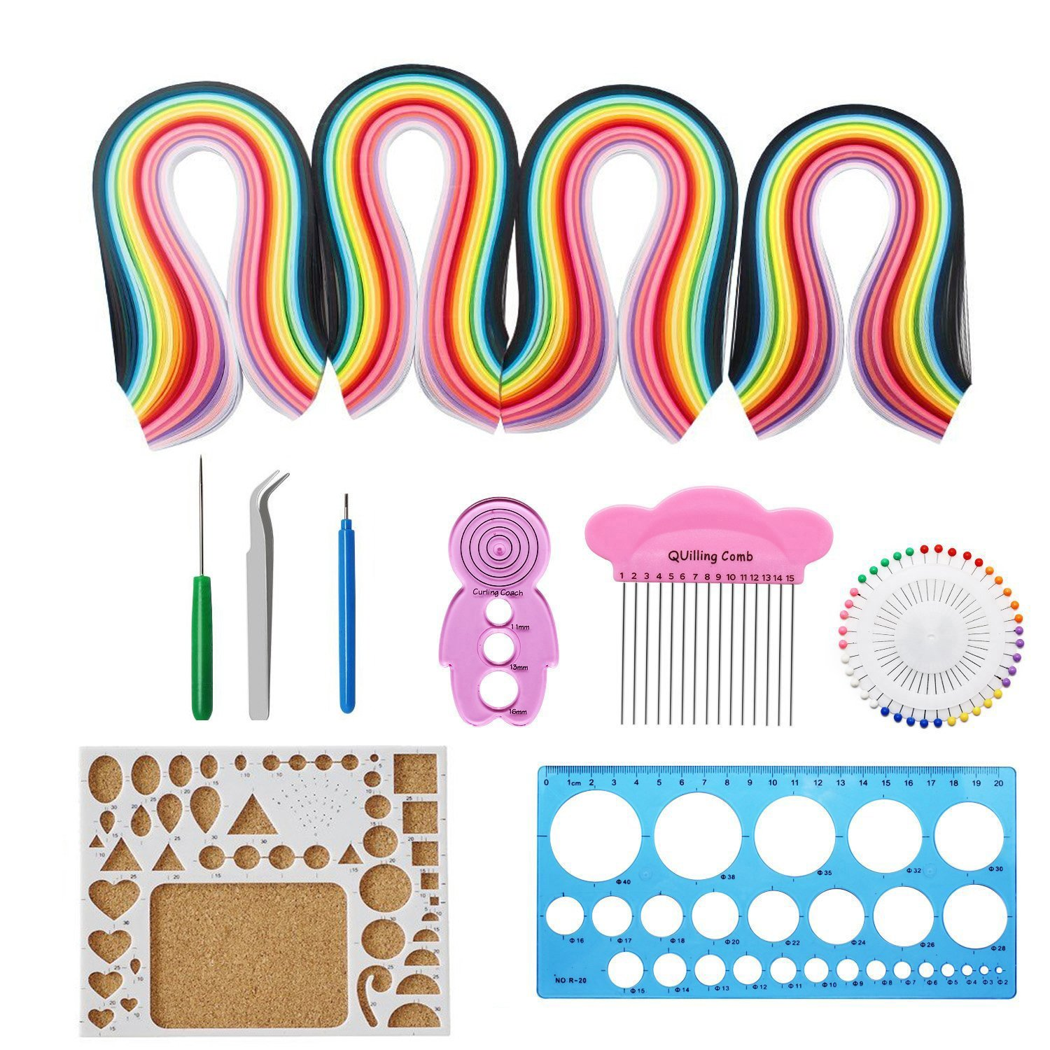 Paper quilling set, Twshiny 1040 pezzi quilling Art strisce in 26 colori con quilling Tools