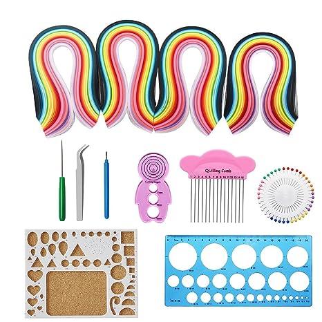 Papel Quilling Set,Twshiny 1040 piezas Quilling Tiras Arte en 26 colores con herramientas de