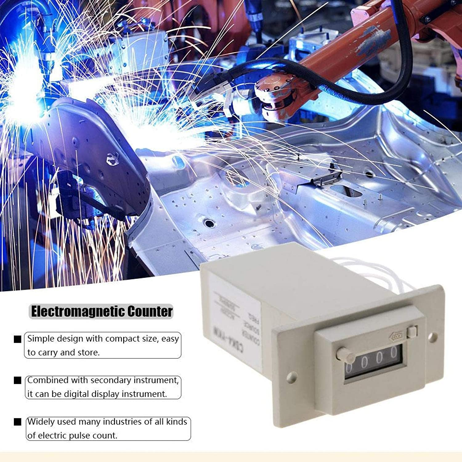 DC24V AC 220V DC 24V Pulse Counter Accurate Count 4 Digit for Oil and Chemical Electromagnetic Counters AC 110V