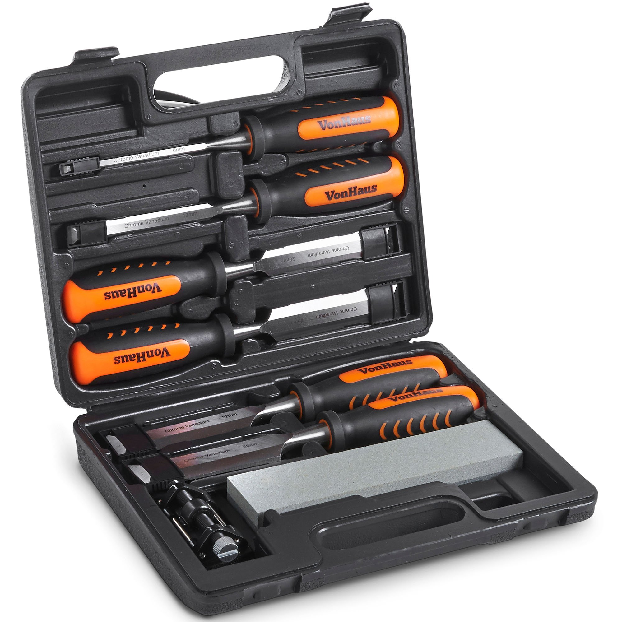 VonHaus 8 pc Craftsman Woodworking Wood Chisel Set for Carving with Honing Guide, Sharpening Stone and Storage Case by VonHaus