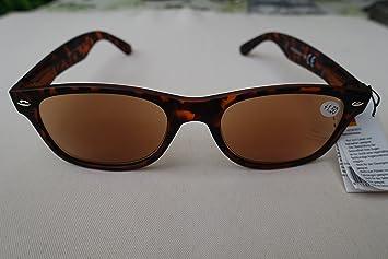 b3548f04cb5e80 GKA 2in1 Sonnenbrille mit Sehstärke Sonnenlesebrille mit Etui Federbügel  Lesebrille Herren Damen braun/schwarzer Rahmen