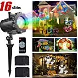 Led Christmas Light Projector, FengNiao led projector light show with 16 Switchable Patterns, Waterproof Outdoor led projection light for Christmas, Halloween and Other Holiday