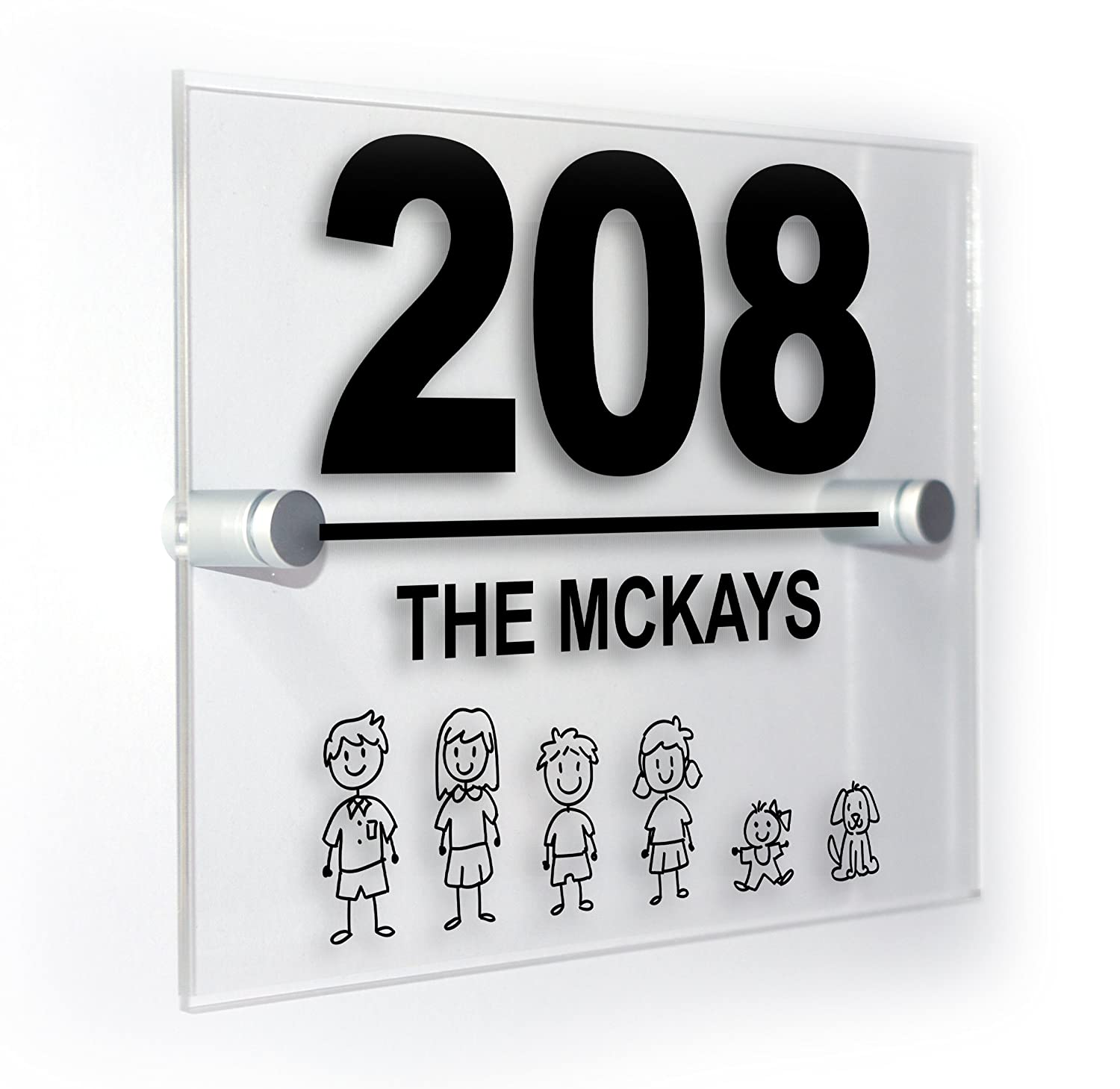 Personalised Stick Cartoon Family Custom House Number Sign For Homes Flats Outdoor Plaque Suitable For All Types Of Wall Premium Home Plaques
