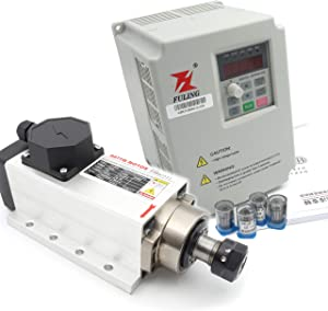 Square 2.2KW Air Cooled Spindle Motor ER20 with 2.2KW Fuling Inverter VFD and ER20 Collet for CNC rounter Milling Engraving Machine