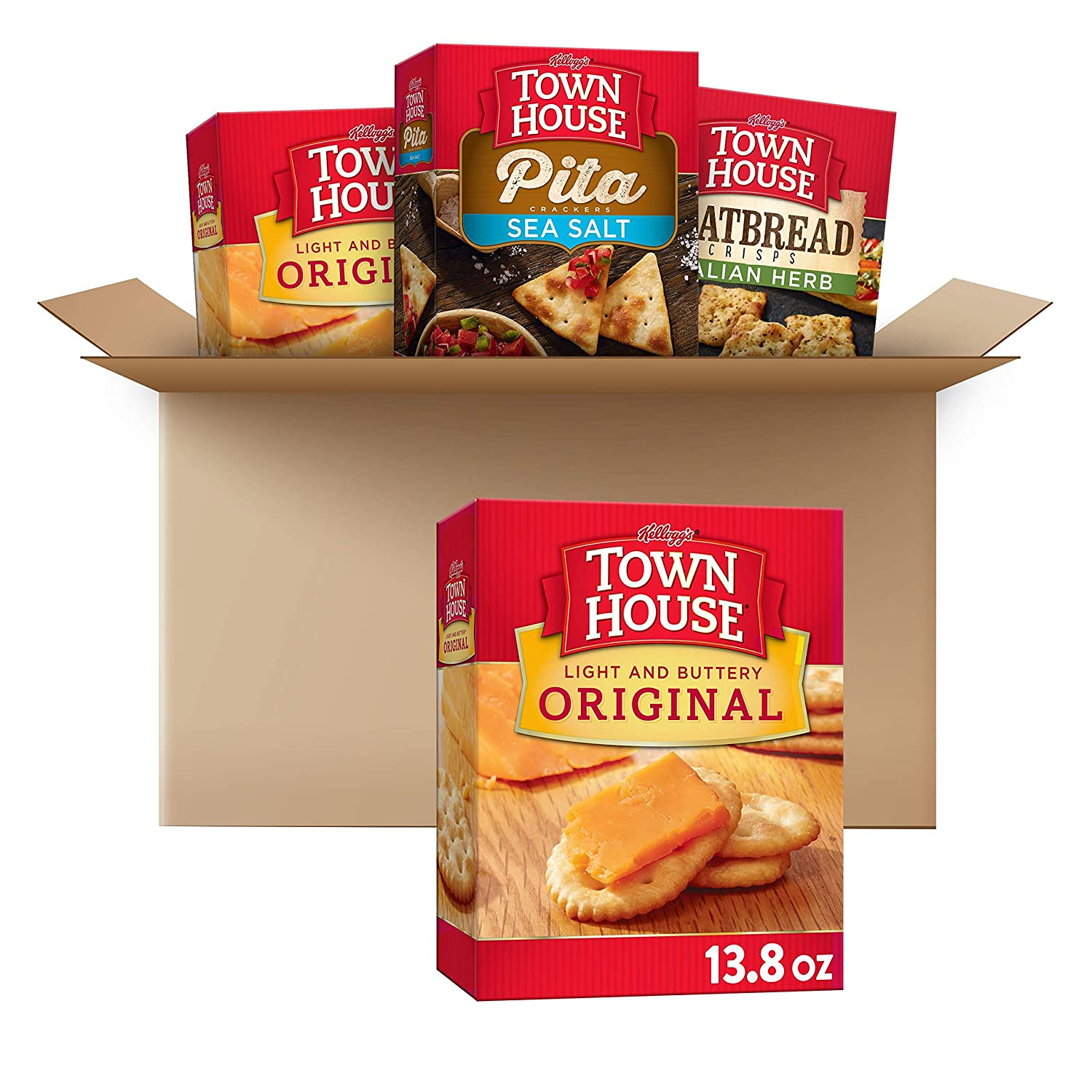 Kellogg's Town House Crackers, 3 Flavors Variety Pack, Ready to Dip Snacks (4 Count Case), 46.6 Ounce (Pack of 1)
