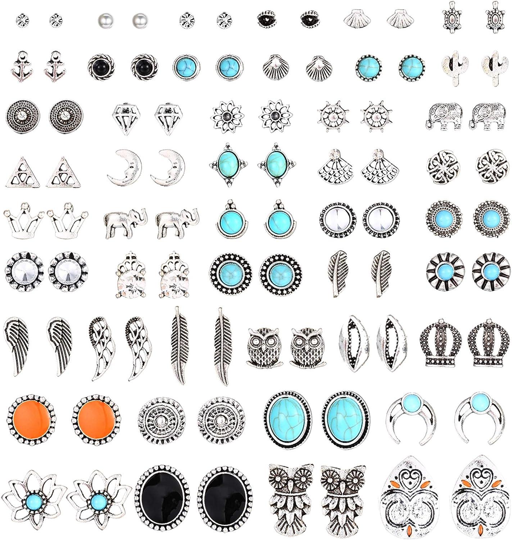 YADOCA 46 Pairs Vintage Multiple Assorted Boho Stud Earrings for Women Simple Geometric Stud Earrings Set Round Turquoise Earrings for Men Stainless Steel CZ Elephant Moon Feather