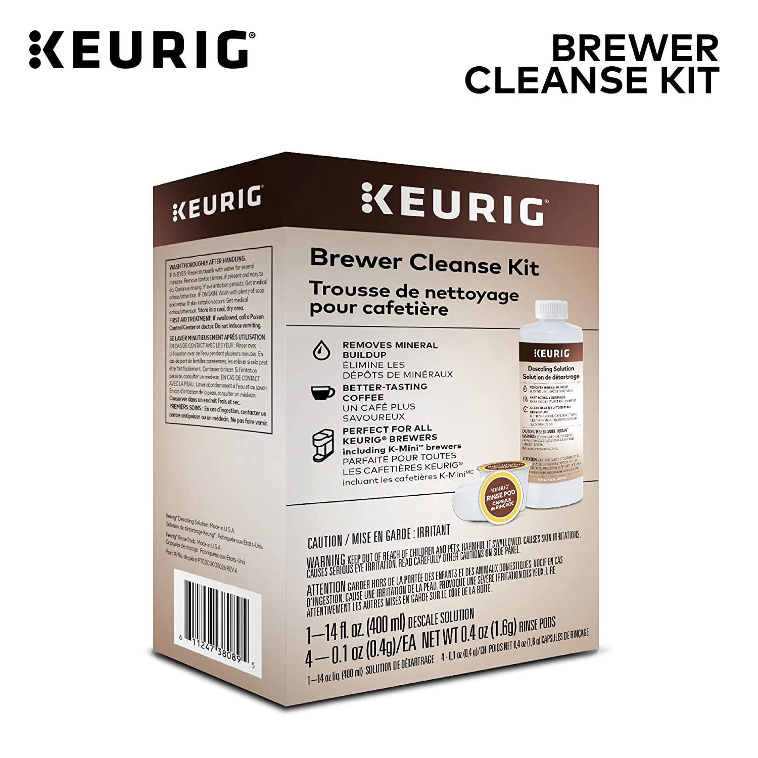 Keurig Brewer Cleanse Kit, Descaling and Maintenance Kit for Keurig Brewers - Includes 4 Keurig Rinse Pods and 1 Descale Solution