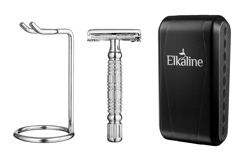 Elkaline Double Edge Safety Razor Shaving Kit + 5 Blades + Razor Stand + Travel Case Set - Great Gift for Men and Women