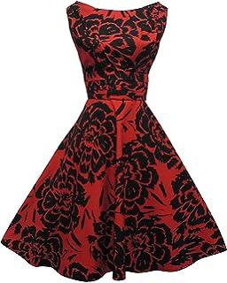 NEW Rosa Rosa 1940 de 50 Rouge de style Rockabilly robe de fête Motif  floral Noir 01278c7d7fce