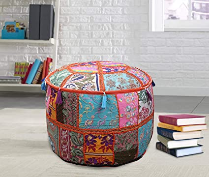 Outstanding Amazon Com Janki Creation Ottoman Pouf Stool Round Seating Machost Co Dining Chair Design Ideas Machostcouk