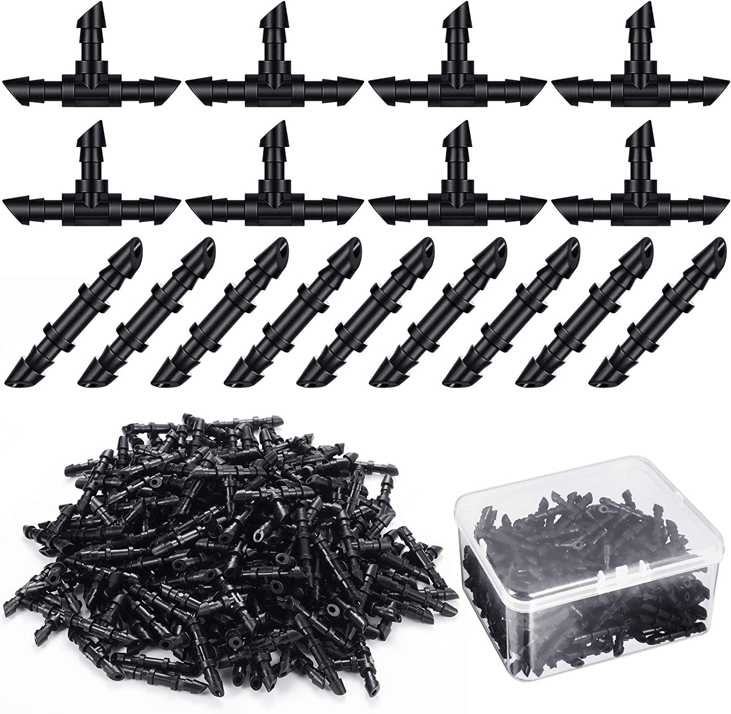 Zonon 200 Pieces Drip Irrigation Fittings Kit with Plastic Box, 100 Barbed Couplings 100 Tees Fittings Barbed Connectors for 1/4 Inch Tubing Garden Lawn Drip or Sprinkler Systems, Black