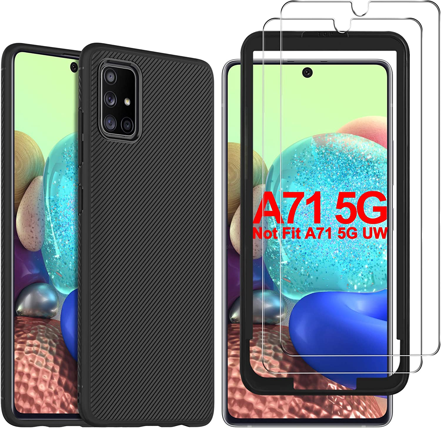 Amazon Com Gesma For Samsung Galaxy A71 5g Case With Screen Protector 1 Case 2 Screen Protector 1 Tray Scratch Resistant Case Tempered Glass Screen Protector For Samsung Galaxy A71 5g Sm A716 Black Electronics