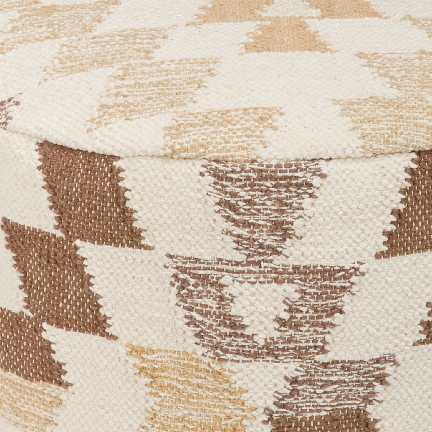 Ashley Furniture Signature Design - Abraham Pouf - Handmade - Imported - Traditional - White and Brown by Signature Design by Ashley (Image #6)