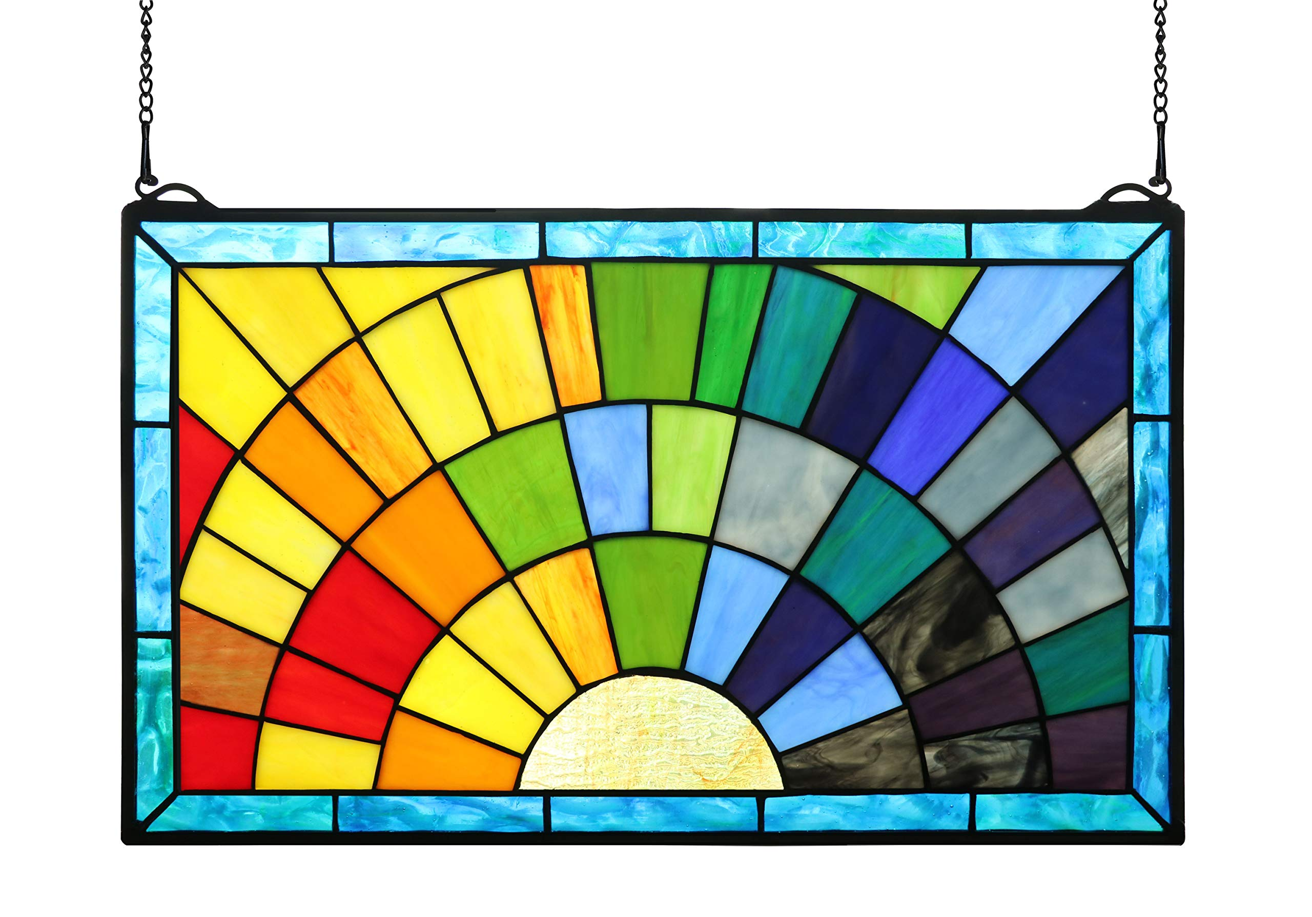 Yolic Tiffany Stained Glass Window Panels 12 Inch Tall Stained Glass Rays of Sunshine Window Panel 20 X 12 Inches Multicolored
