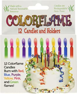 Colorflame Birthday Candles With Colored Flames 12 Per Box