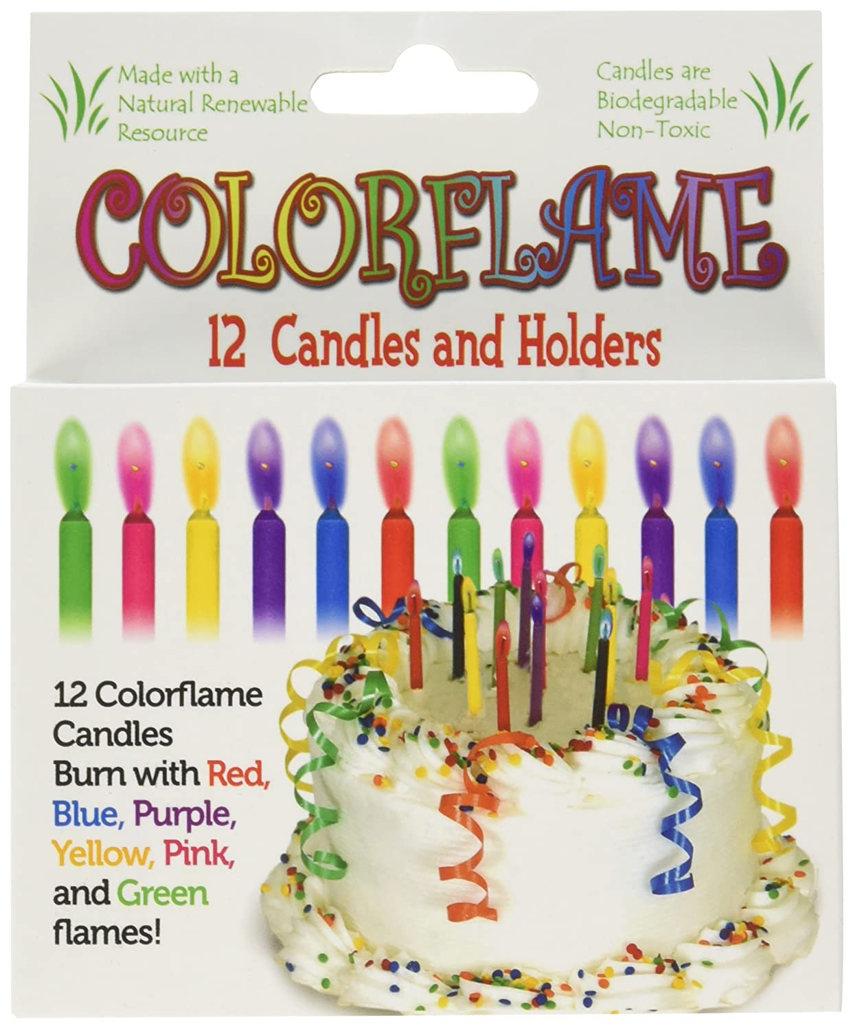 Amazon Colorflame Birthday Candles With Colored Flames 12 Per Box Toys Games