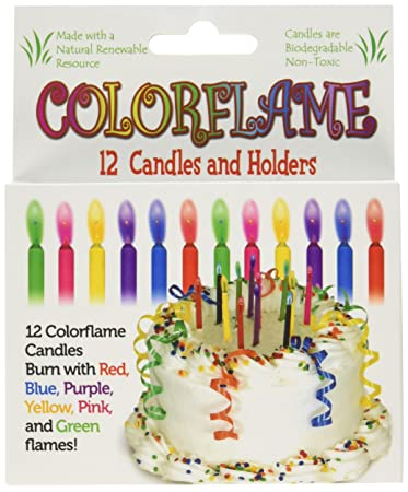Amazon Colorflame Birthday Candles With Colored Flames 12 Per