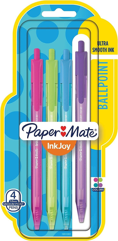 colores surtidos 8 unidades punta mediana Paper Mate 1945921 InkJoy 300RT Bol/ígrafos retr/áctiles