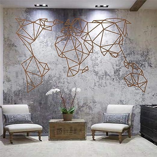 Dekadron - Mapa del mundo de metal para pared, diseño geométrico ...