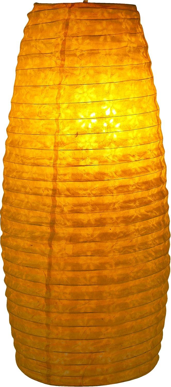 Guru-Shop Kleiner Ovaler Lokta Papierlampenschirm, Hängelampe Corona, Rot, Lokta-Papier, Farbe: Rot, 42x22x22 cm, Papierlampenschirme Oval Hängelampe Corona