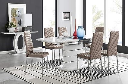 Furniturebox Uk Renato Moderno Bianco Grigio Lucido Cromato Tavolo Da Pranzo Grande Allungabile E 6 8