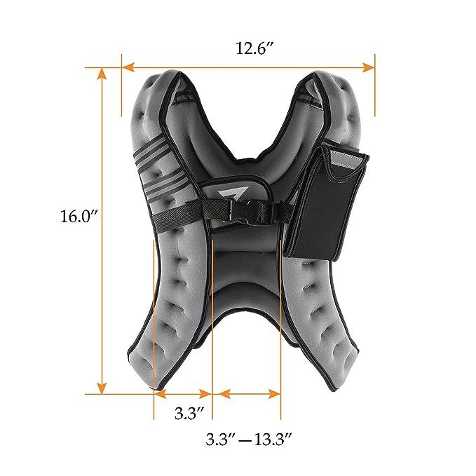 Zelo 12 lb peso ajustable chaleco lastrado para entrenamiento chaleco w/reflectante para entrenamiento, entrenamiento de fuerza, Running, Fitness, ...