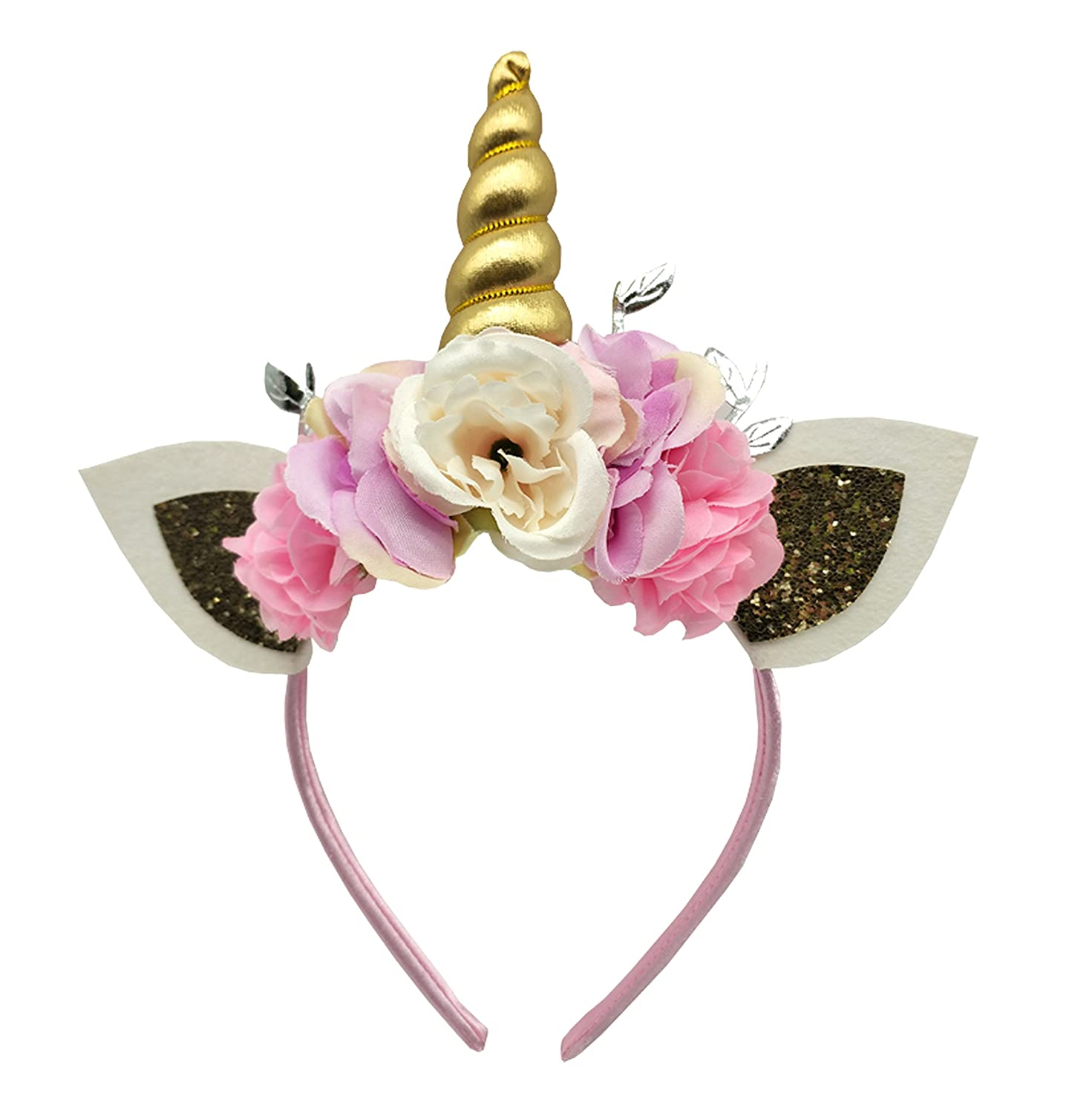 Amazon.com   Sanrich Flowers Unicorn Headband for Girls Baby Unicorn Theme  Parties Favors Birthday Gift Crown Headpiece(gold)   Beauty 3d1fa1f69bc