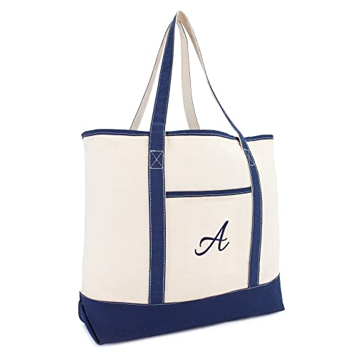 Dalix Personalized Tote Bag For Women Monogram Initial Open Top Navy Blue Az