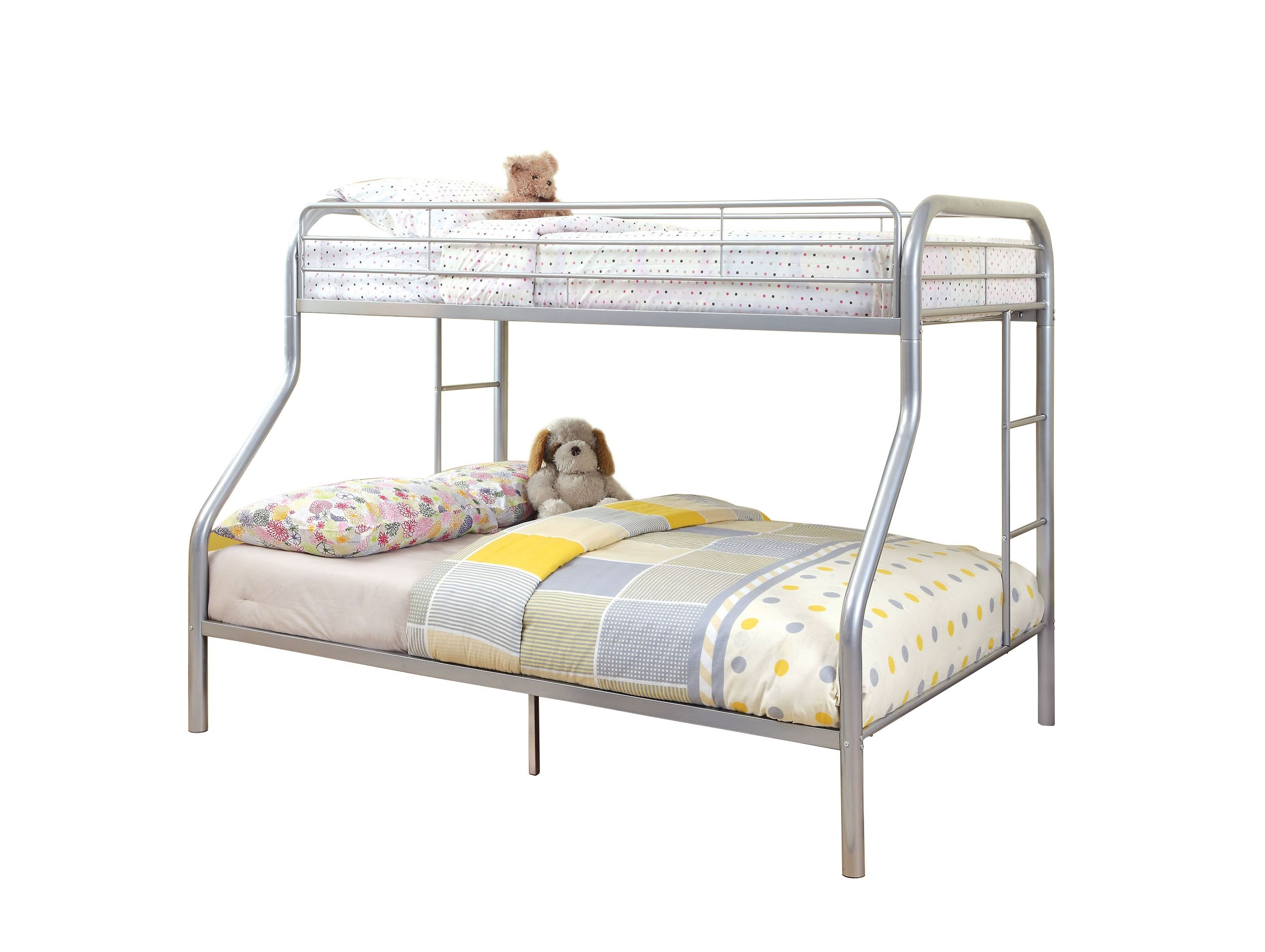Furniture of America Non-Recycled Metal Bunk Bed, Twin Over Full, Silver