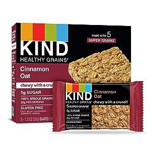 KIND Healthy Grains Bars, Cinnamon Oat, Gluten Free, (5 Count of 1.2 oz Bars) 6 oz, Pack of 8