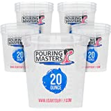 Pouring Masters 20 Ounce (600ml) Graduated Plastic Mixing Cups (Box of 12) - Use for Paint, Resin, Epoxy, Art, Kitchen, Cooki