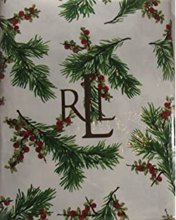 Ralph Lauren Christmas Tablecloth Holly And Evergreen 60 X 104